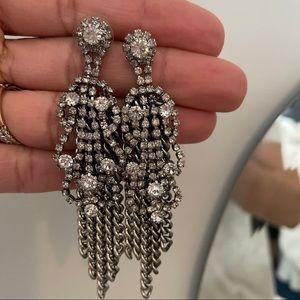 Stella & Dot silver & cz statement earrings